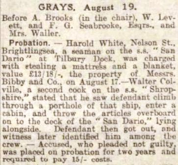 Grays Mag Court Press report 1927
