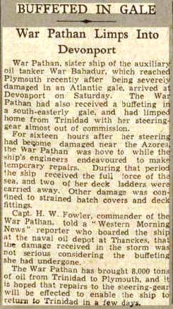 Press Cutting West Morn News - War Pathan