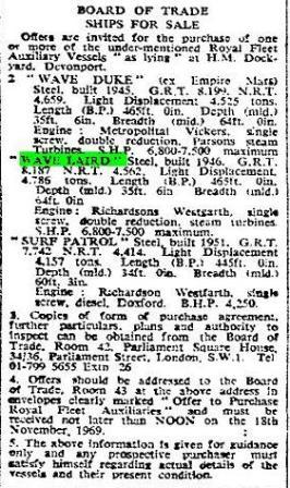 Press cutting Times WLaird WDuke Surf Patrol 1969