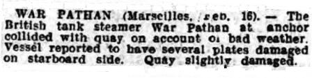 Press report War Pathan Shields Gazette 1925