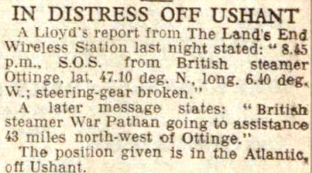 Press report West Morn News 23 Feb 1935 War Pathan