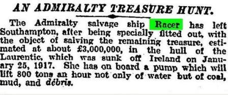 Racer sails Times 21 May 1920