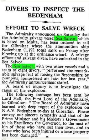 Times Press Cutting Sea Salvor Bedenham