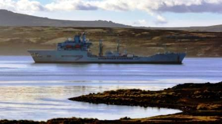 Wave Knight at anchor in Falklands