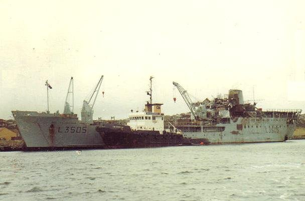 rfa sir tristram in stanley harbour 1982 4 tug irishman alongside