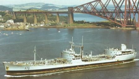 RFA Plumleaf 2 upstream from Forth Bridge