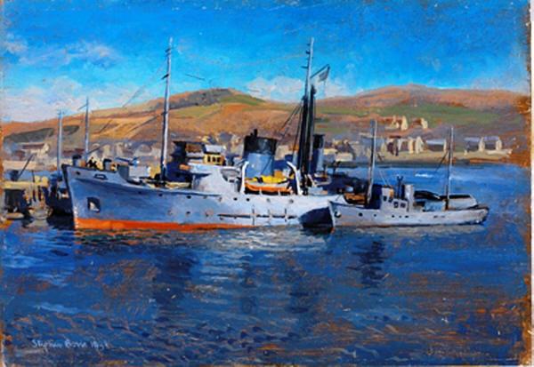 HM Rescue Tug Samsonia in 1944 by Stephen Bone before entering RFA Service